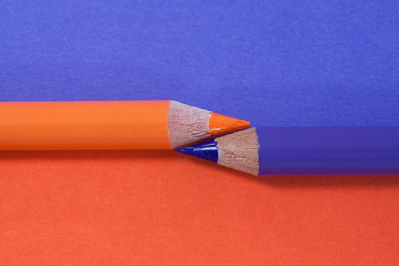 colored pencil, complementary, orange